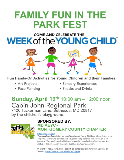 Flyer for Week of the Young Child Park Fest